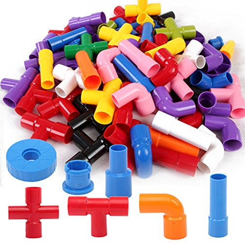 Bebamour 72pcs Water Pipe Plug Match Building Toys for Kids Education Construction Toy Set