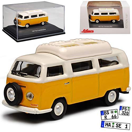 Volkwagen T2 Camping Bus Gelb Weiss 1967-1979 H0 1/87 Schuco Modell Auto mit individiuellem Wunschkennzeichen