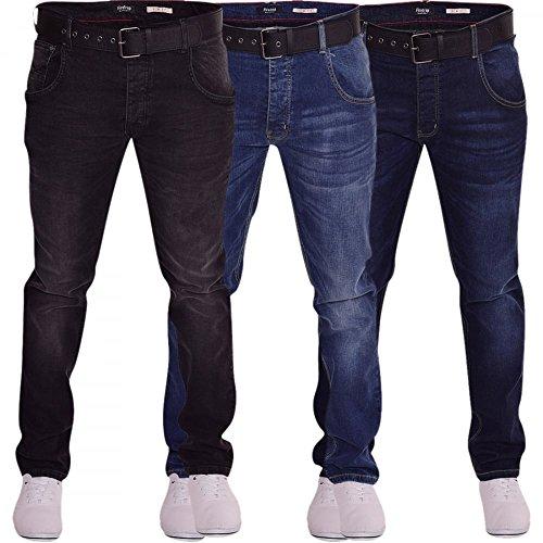Firetrap Herren Strapazierfähig Langlebig Quality Kegelförmig Slim Fit Stretch Denim Jeans 3 Farben Schwarz Steinwäsche
