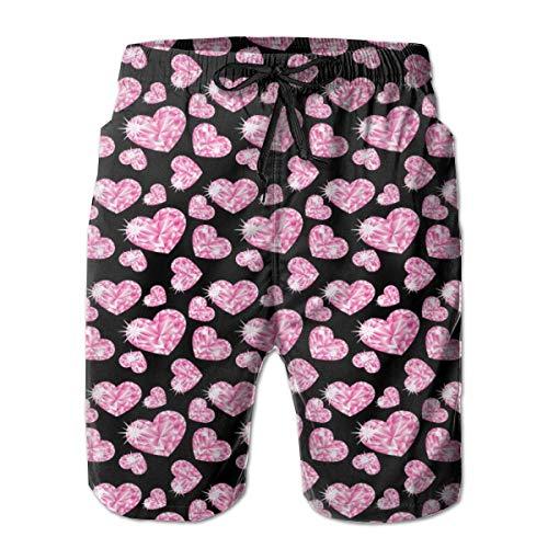 Men Swim Trunks Beach Shorts,Romantic Pink Heart Stones On Black Background Love Valentines Day Theme XL -