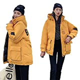 FidgetGear Winter Women Thicken Down Cotton Hoodie Coat Printing Letters Middle Long Loose Overcoat Yellow M
