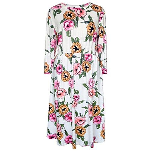 AmazingDays Chemisiers T-Shirts Tops Sweats Blouses,Femme Impression Florale 3/4 Manches O-Neck Bohème Beach Summer Robe Mi-Longueur white