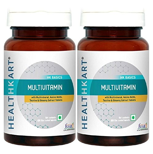 Healthkart Multivitamin with Ginseng extract, Taurine and Multimineral, Improves focus, alertness, stamina and immunity, 60 tablets each, Pack of 2