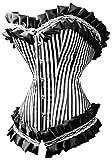 Corsé negro rayas blanco con niña, estilo pin-up Burlesque