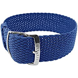Eulit watch blue nylon band | Drawstring Bracelet In 20mm-29011, Clasp: Silver