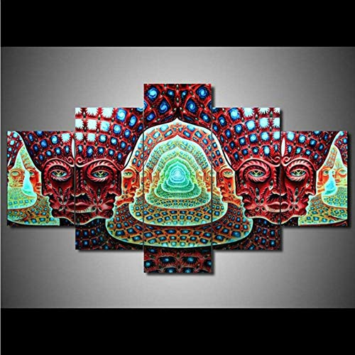Wuwenw Frame Hd Printed Canvas Painting Wall Art Modular Poster 5 Pieces Tool Alex Grey Graphical Modern Living Room Home Decor Picture,16X24/32/40Inch,Without Frame