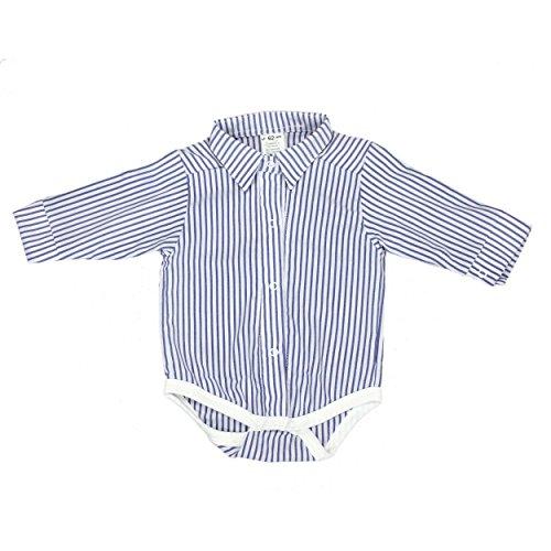 TupTam Unisex Baby Hemd-Body Langarm mit Kragen, Farbe: Streifenmuster Dunkelblau, Größe: 74