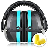 Ear Defenders, Fnova 34dB Highest NRR Safety Ear Muffs, Shooting Hearing Protector, Super Soft Foam + Double Layers Noise Dampening+ Folding-Padded Headband - Fits Adults to Kids(Sky Blue)