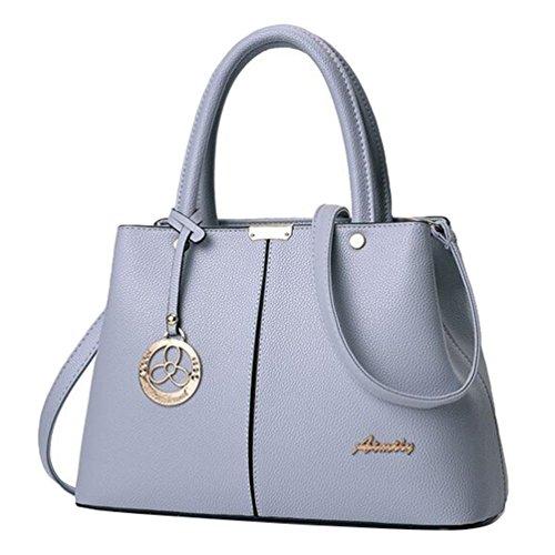 Baymate Damen Handtasche Vintage Style PU Leder Umhängetasche Crossbody Tasche Hell Grau