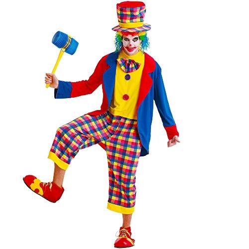 Unbekannt Gruseliger Clown Herren Halloween Kostüm Killer Evil Circus Karneval Performer - Blau - (Psycho Circus Kostüm)