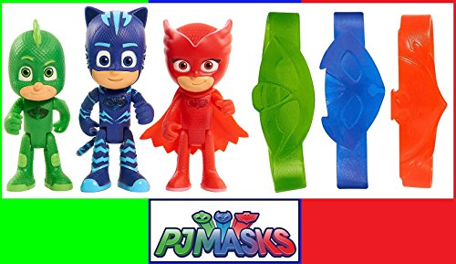 Set 3 Pj Masks Superpigiamini Personaggi Articolati da 8 Cm con Luce e Braccialetti