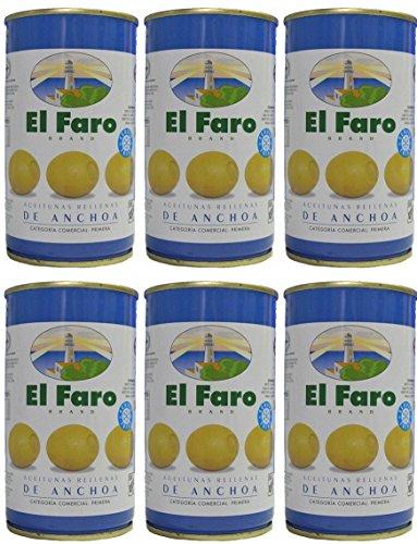 El Faro - Spanischen Oliven mit Sardellen gefüllt 350 gr. Abgetropft Menge 150 gr. - [Pack 6]