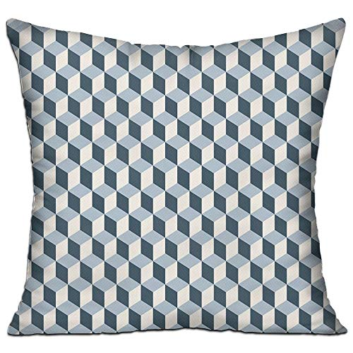 ZMYGH Retro 3D Style Cubes Squares Pattern Geometric Old Fashioned Abstract Futuristic Decorative Blue Light Blue White House Decor Throw Pillow Cover 18
