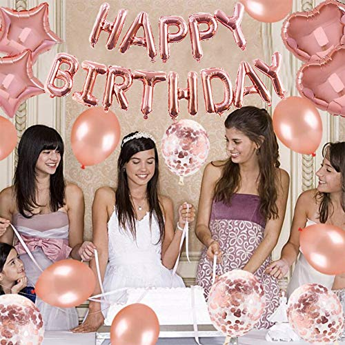 Yoart 40th Birthday Decorations Rose Gold For Women And Girl Party Supplies 39 Piece With Happy Banner Confetti Latex Balloons Star Foil