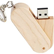 LEIZHAN Rotate Wood 16GB USB Flash Drive With Key Chain High Speed Usb Flash Drive Usb 2.0 Pen Drive Memory Stick U Disk Pendrive