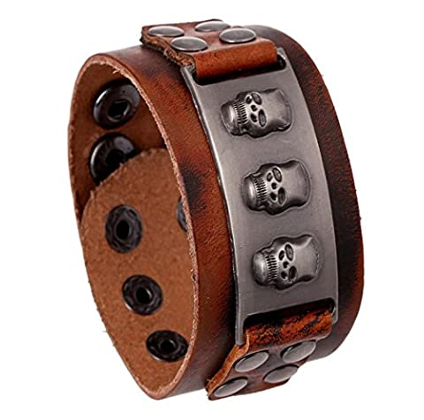 Caiyan Vintage wide-head layer cowhide antique Bracelet