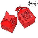 ULTNICE 50 Stück Geschenkbox,Rose Muster Pralinenschachtel Gästebox mit Band für Hochzeit/Geburtstag/Engagement,Rot