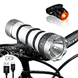 funsport Multifunktional Bike Light Set - LED Fahrradlampe, Taschenlampe, Camping Laterne und Power Bank 4 in1 - USB Wiederaufladbar 900 lm IP65 Wasserdicht
