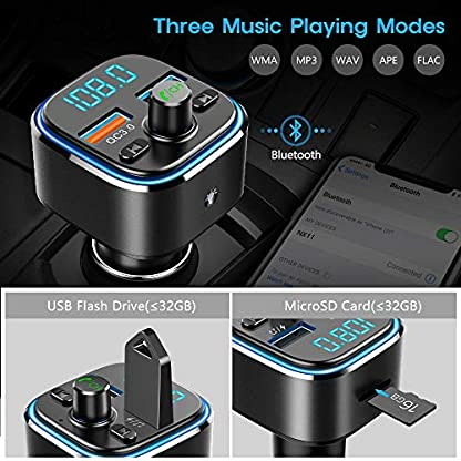 FM-Transmitter-NULAXY-Auto-Bluetooth-FM-Transmitter-Bluetooth-Adapter-Auto-Transmitter-mit-7-Farbe-LED-Backlit-QC-30-Port-und-Untersttzt-TF-Karte-USB-Stick