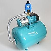 Hauswasserwerk 100 Liter Membrankessel + Pumpe MHI1300 Watt Fördermenge: 6000l/h + Pumpensteuerung + Trockenlaufschutz zum Schutz der Pumpe.