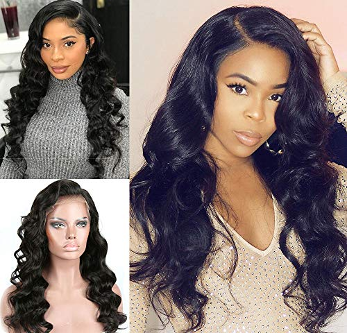 Eayon 360 Lace Front Wigs Human Hair Pre Plucked Virgin Body Wave Human Hair Wigs with Baby Hair Brazilian Full 360 Lace Frontal Wig for Black Women Natural Color 130 Density 18 inch - Wave Full Lace Perücke