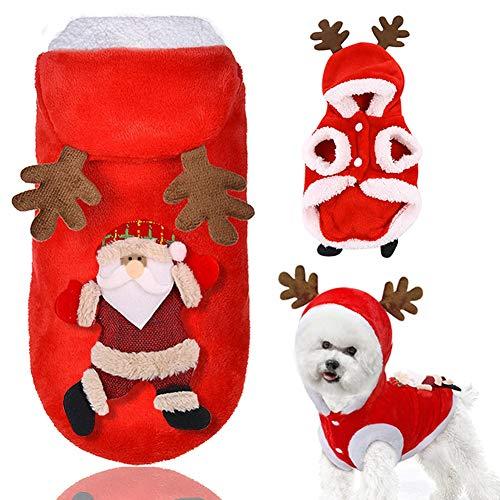 Doubleer Hund Weihnachten Kleidung Hoodie Haustier Rotes Rentier Mantel Für Welpen Herbst Winter Elch Kostüm Für Kaltes Wetter Kleine Hunde Welpen Schnauzer Teddy Pudel Chihuahua XS S M L XL (Für Erwachsene Rentier Kostüm Hoodie)