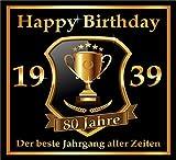 RAHMENLOS 3 St. Aufkleber zum 80. Geburtstag: 1939 der Beste Jahrgang Aller Zeiten - Selbstklebendes Flaschen-Etikett. Original Design