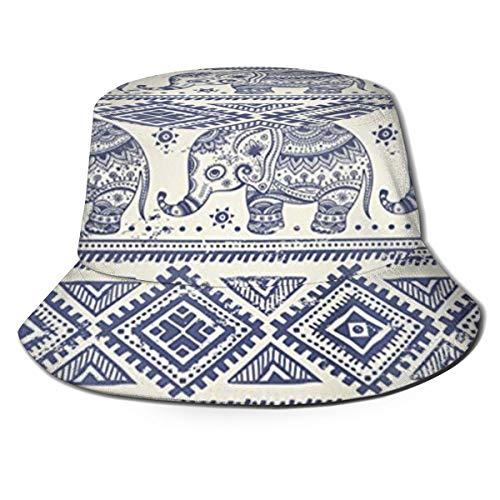 Azteca, Gráfico Indio, Loto étnico, Elefante, Tribal Africano, Sombreros de Copa Transpirables de Parte Superior Plana Gorras de Pescador con protección Solar