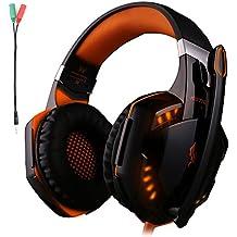 KOTION OGNI G2000 Gaming Headset auricolare jack da 3,5 mm con retroilluminazione a LED e microfono Noise Cancelling stereo bassa per Computer Game Player di Senhai (nero +