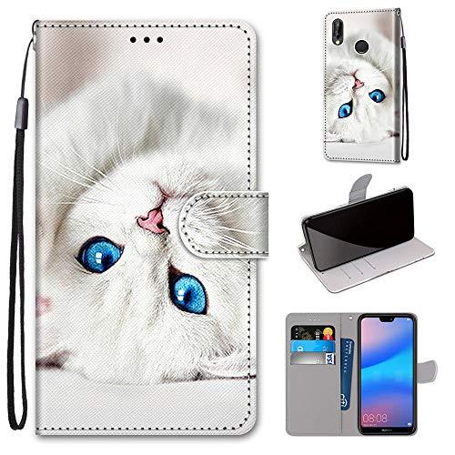 Miagon Flip PU Leder Schutzhülle für Huawei Y7 2019,Bunt Muster Hülle Brieftasche Case Cover Ständer mit Kartenfächer Trageschlaufe,Weiß Katze