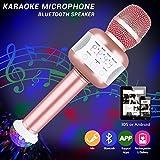 Micrófono inalámbrico Bluetooth, altavoz de micrófono Karaoke Bluetooth Micrófono AUX de batería...