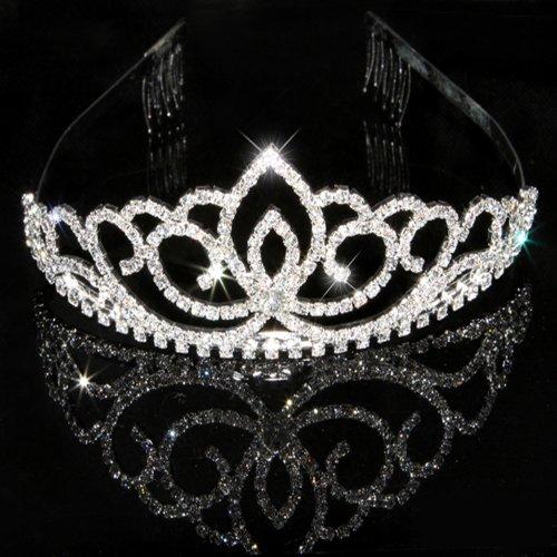 Katara - Diadème argentée couronne de princesse avec deux petits peignes - tiare nuptiale en strass pour mariage, demoiselles d'honneur, communion