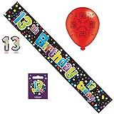 Geburtstagsparty-Set zum 13. Geburtstag, für Jungen, mit Banner, Ballons, Zahlenkerzen, großem Anstecker