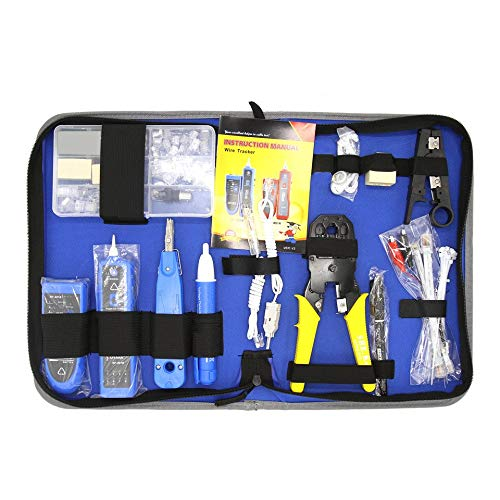 NF-1501 Network Repair Tool Kit With Wire Stripper Wire Tracker Krone Punch Down Tool Crimping Tool Maintenance Tool Set(blue without battery)