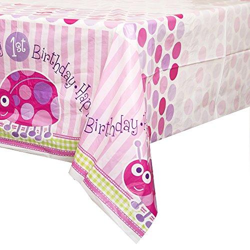 s 1. Geburtstag Pink Marienkäfer Partyartikel, 16Stück (Rosa Kunststoff-tabelle-cover)