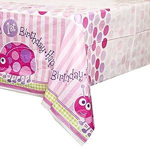 Mantel de Plástico - 2,13 m x 1,37 m - Fiesta de Primer Cumpleaños de Mariquita Rosa de Mariquita Rosa