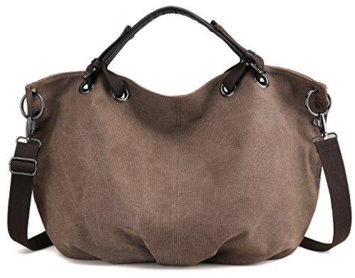 Damen Umhängetasche Handtasche aus Canvas Leinwand