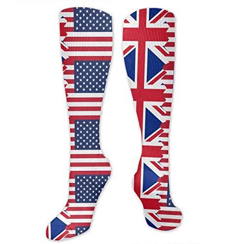 dfegyfr Unisex British USA Flag Knee High Compression Thigh High Socks Soccer Tube Sock