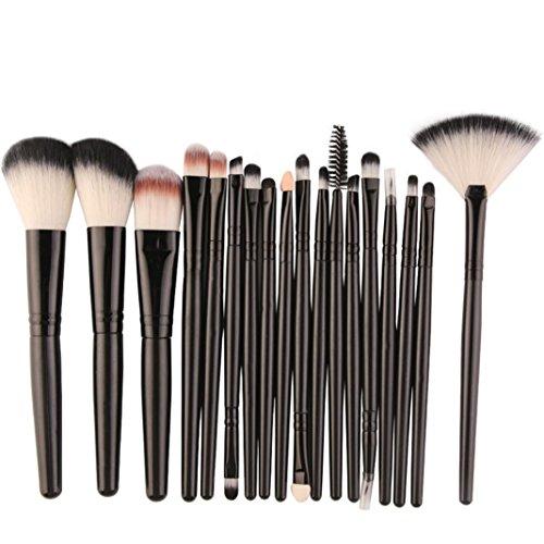 Ensemble de pinceaux de maquillage,Honestyi 18 pcs Outils Trousse de toilette Pinceaux de maquillage professionnel (Noir)