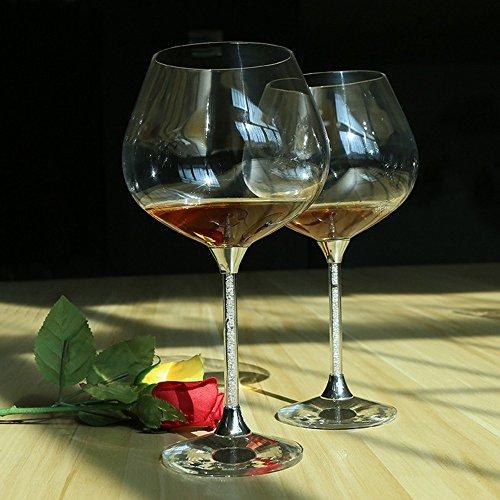 XBJBPL Copa De Vino/Copas De Vino Tinto,Vasos De Cristal De Vino Para La Boda Forma De Tulipán De La Boda Vasos De Vino Tinto Con Pedrería Llena De Pedrería Y Cristal2Pcs, 650 Ml