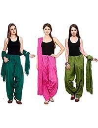 Green World Products : Combo Of Dark Rama, Pink, & Mehandi 3 Indian Readymade Patiala Salwar Dupatta Set By Green...