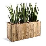Pflanzkasten 'Woodline Box' Dark Flame Wood Rechteckig Holz - 44x93.5x33.5cm - F473