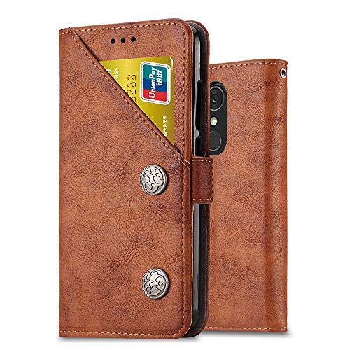 Ferilinso LG Q7/ LG Q7 Plus/LG Q7α Hülle,Retro Leder mit Multifunktions ID Kreditkarten Slot Halter Flip Cover Stand Magnetverschluss Fall für LG Q7/ LG Q7 Plus/LG Q7α(Retro Braun)