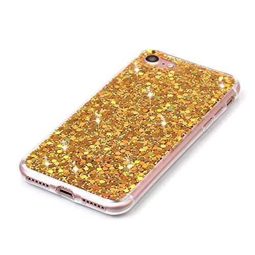 Custodia iPhone 7 Plus, Aohro Ultra Sottile Morbido TPU Bumper Gel e Bling Glitter Strass Interno Protettiva Custodia Brillantini Resistente Back Case Caso per iPhone 7 Plus 5.5pollice-Blu Oro