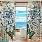 BONIPE Vorhang im Vintage-Stil, mit Schmetterlingen, aus Voile, Tüll, für Küche, Schlafzimmer, Wohnzimmer, Wohnzimmer, Dekoration, 139,7 x 198 cm, 2-teiliges Set, Polyester, Multi, 55x78x2(in)