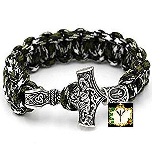 Algiz Rune - Militär Paracord Armband Buntes Grün camouflage Outdoor - Viking Wikinger Thor Hammer Antik Silber -100% Handarbeit -25 cm Umfang Nr.20 (Gold-grünes T-shirt)