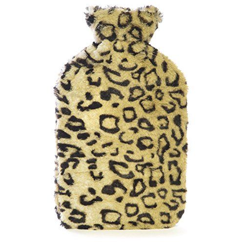 2 Litre Hot Water Bottle with Faux Fur Animal Print Cover (Leopard)