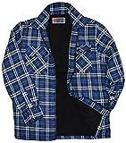 Herren Karo Thermohemd/Jacke mit Plüschfell Fleece Fell Innenfutter Holzfällerhemd Arbeitshemd Flanellhemd Kariert gefüttert Reißverschluss (M, Blau)