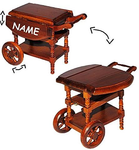 Servierwagen / Teewagen - klappbar - aus Holz - incl. Name - für Puppenstube Miniatur / Maßstab 1:12 - Eßzimmer - Esstisch Küchenwagen Side-Car mit Rollen - dunkelbraun Tisch - Puppenhaus Puppenhausmöbel - Beistelltisch Wohnzimmer Möbel - Diorama