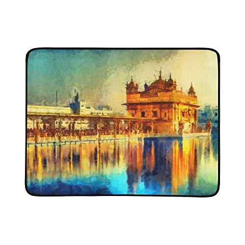 SHAOKAO Goldener Tempel in Amritsar Punjab Indien Muster tragbare und Faltbare Deckenmatte 60x78 Zoll handliche Matte für Camping Picknick Strand Indoor Outdoor-Reise (öl Attraktion)